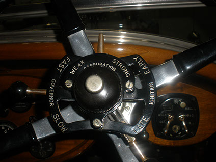 Detail of driver's controls on the actual car