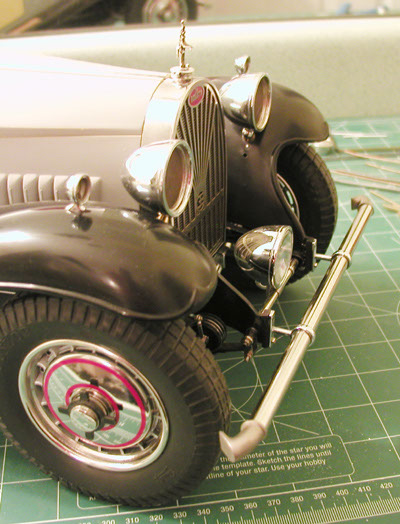 Notice the Bumper Ends, Running Lights, Head Lights, Radiator Grill, Vinyl Transfers...and, Elephant Radiator Cap! Beautiful model under construction by Frank Giordano.